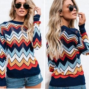 SALE! New Chevron Color Block Hollow Out Sweater